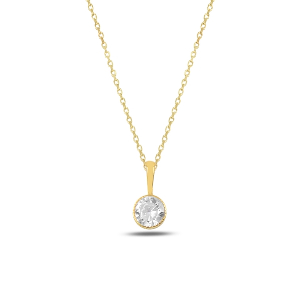 Colier argint aurit cu zirconiu alb placat cu aur galben - CTU0096 0