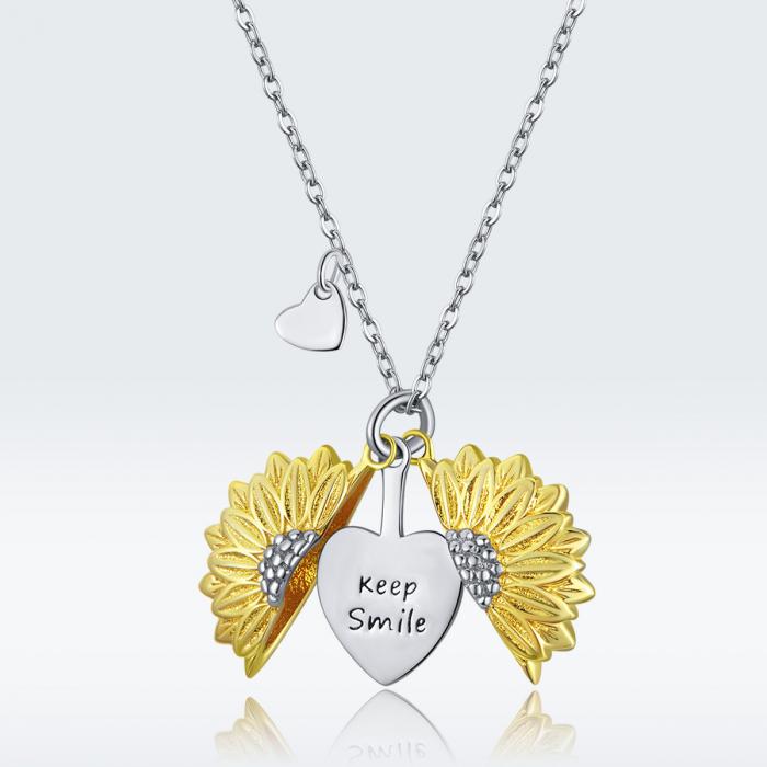 Colier argint cu floarea soarelui, inimioare si mesaj pozitiv 7