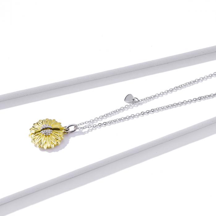 Colier argint cu floarea soarelui, inimioare si mesaj pozitiv 2