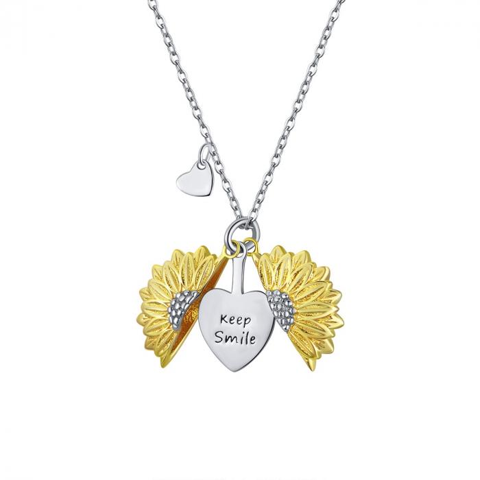 Colier argint cu floarea soarelui, inimioare si mesaj pozitiv 0