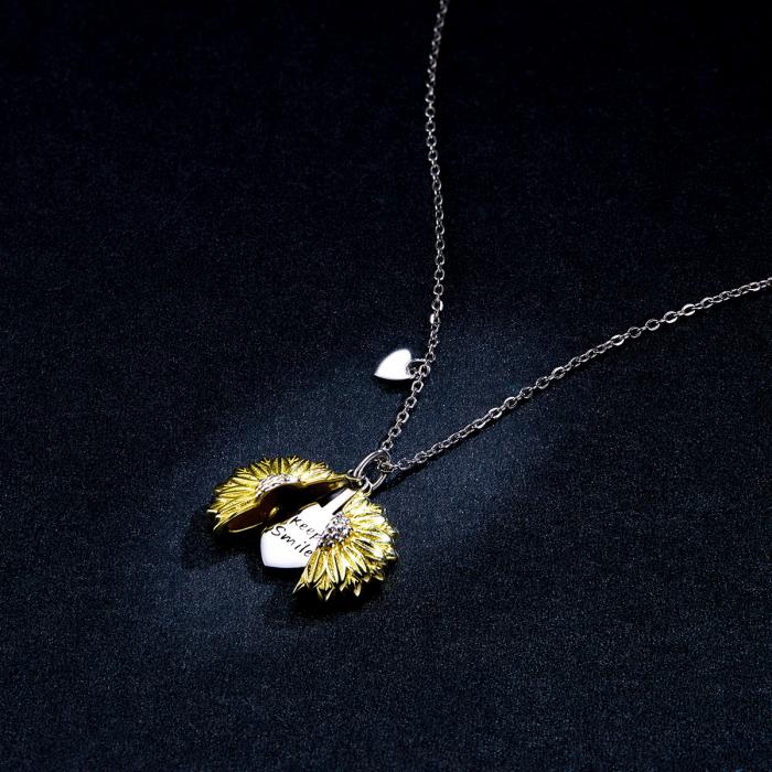 Colier argint cu floarea soarelui, inimioare si mesaj pozitiv 4