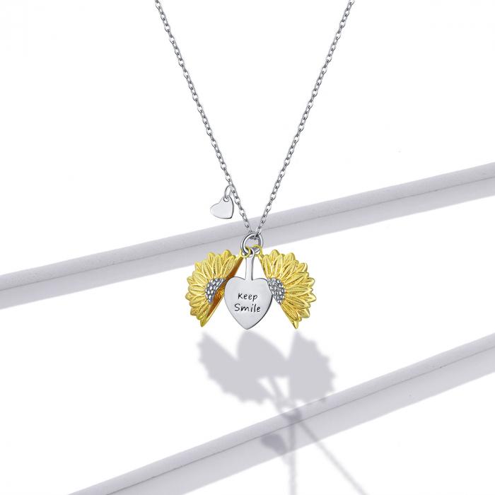 Colier argint cu floarea soarelui, inimioare si mesaj pozitiv 6