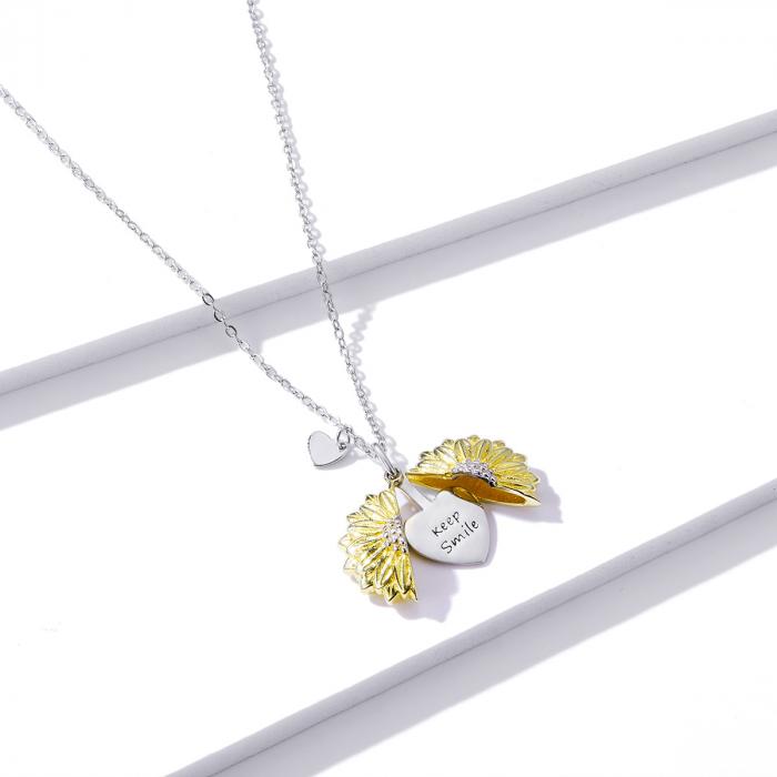 Colier argint cu floarea soarelui, inimioare si mesaj pozitiv 3