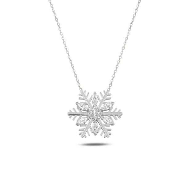 Colier argint  cu fulg de zapada si zirconii albe, placat cu rodiu - CTU0108 0