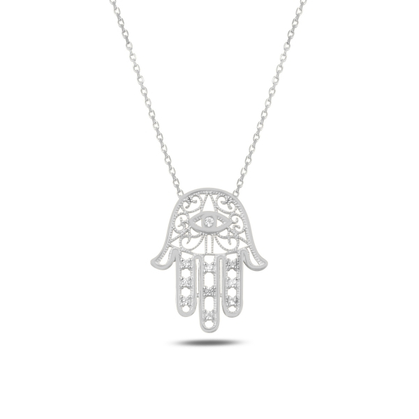 Colier argint cu Hamsa Mana lui Fatima si zirconii albe, placat cu rodiu - CTU0107 0