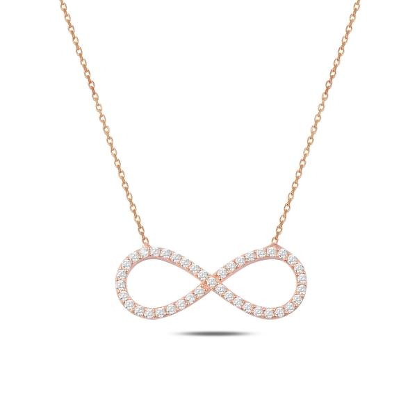 Colier argint  cu infinit si zirconii albe, placat cu aur roz - CTU0106 0