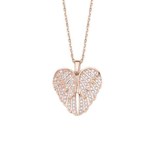 Colier argint cu inima si aripi de inger mobile, cu zirconii placat cu aur roz [0]