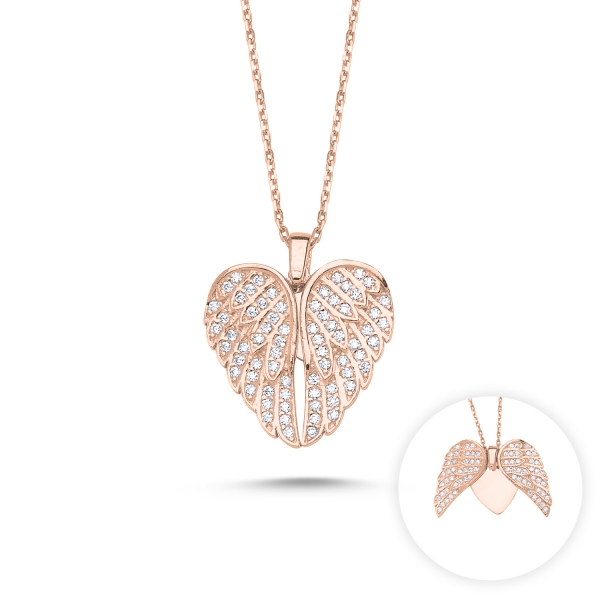 Colier argint cu inima si aripi de inger mobile, cu zirconii placat cu aur roz [1]