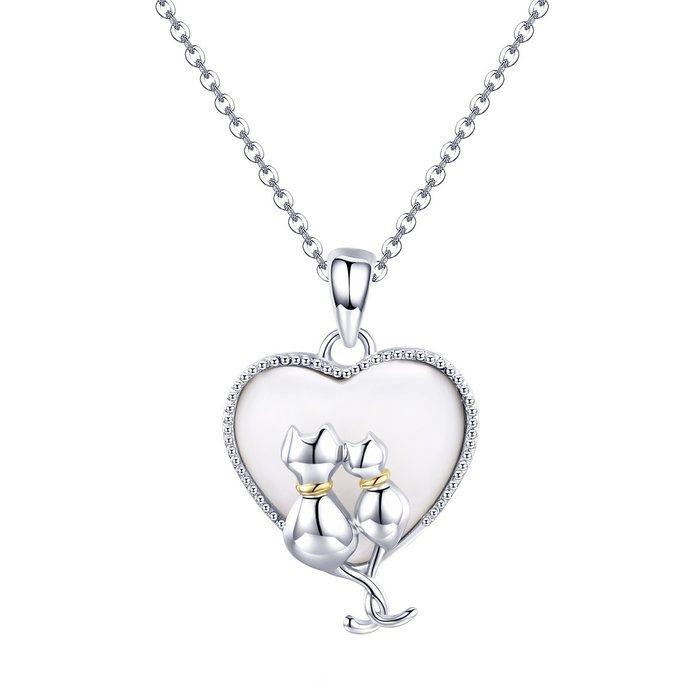 Colier argint cu  inimioara si pisicute indragostite 0