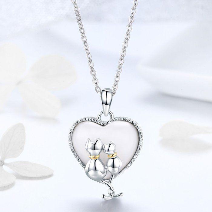 Colier argint cu  inimioara si pisicute indragostite 2