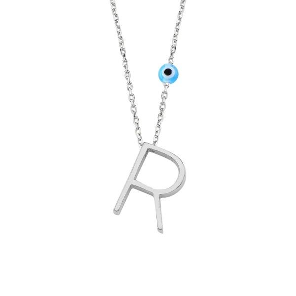 Colier argint cu pandantiv litera R placat cu rodiu [0]