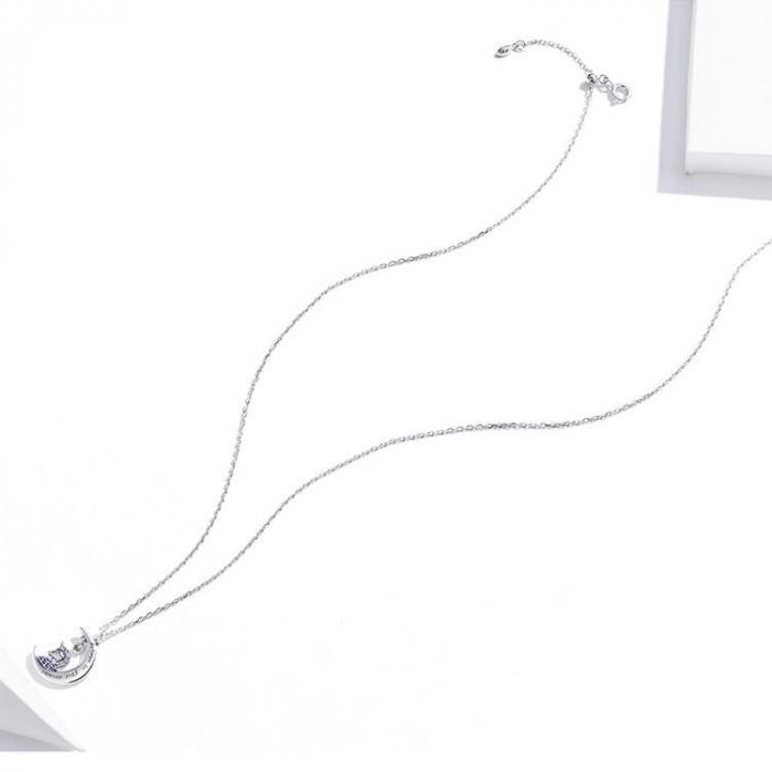 Colier argint cu unicorn, semiluna si zirconii, cu lant reglabil 3