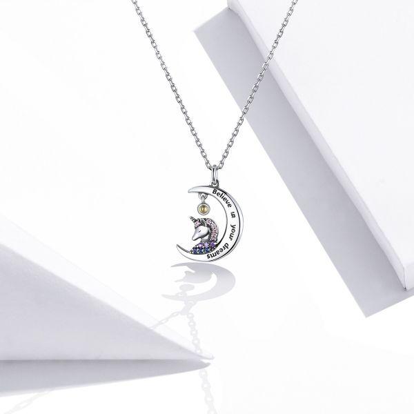Colier argint cu unicorn, semiluna si zirconii, cu lant reglabil 1