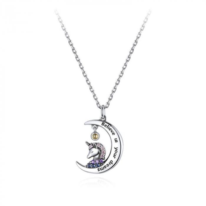 Colier argint cu unicorn, semiluna si zirconii, cu lant reglabil 0