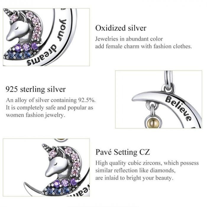 Colier argint cu unicorn, semiluna si zirconii, cu lant reglabil 4