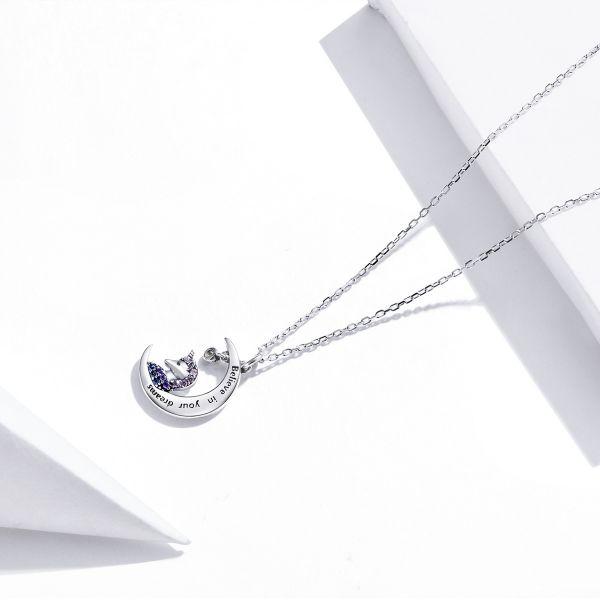 Colier argint cu unicorn, semiluna si zirconii, cu lant reglabil 2