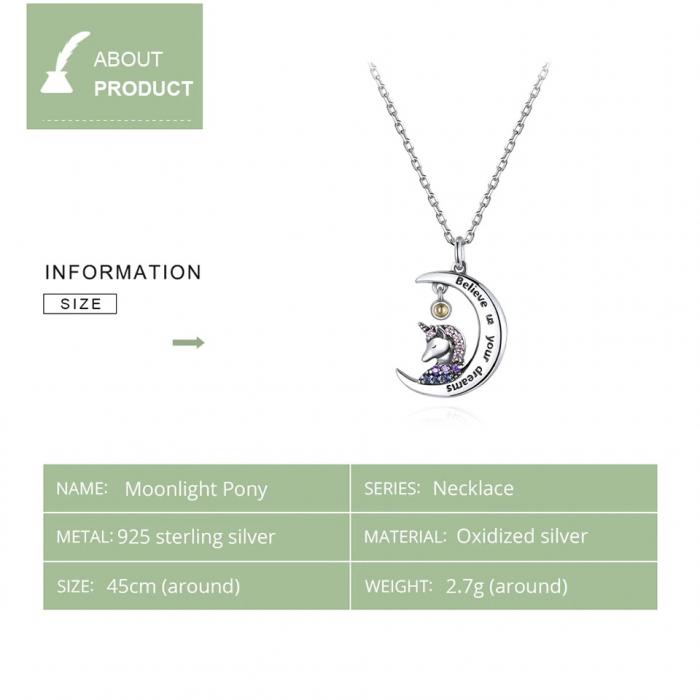 Colier argint cu unicorn, semiluna si zirconii, cu lant reglabil 7