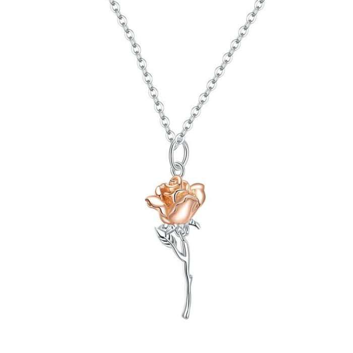 Colier argint cu trandafir 3D 0