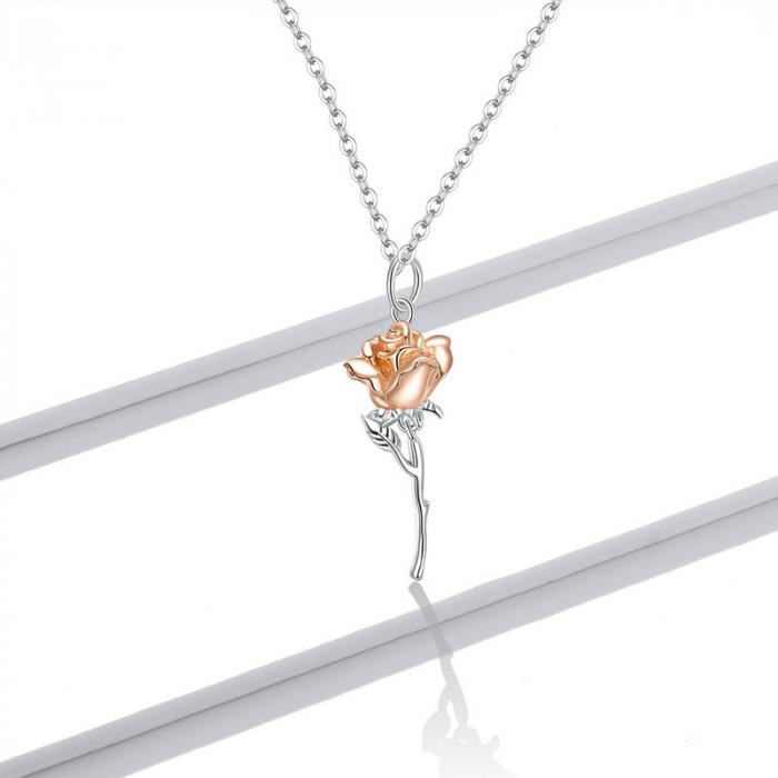 Colier argint cu trandafir 3D 7