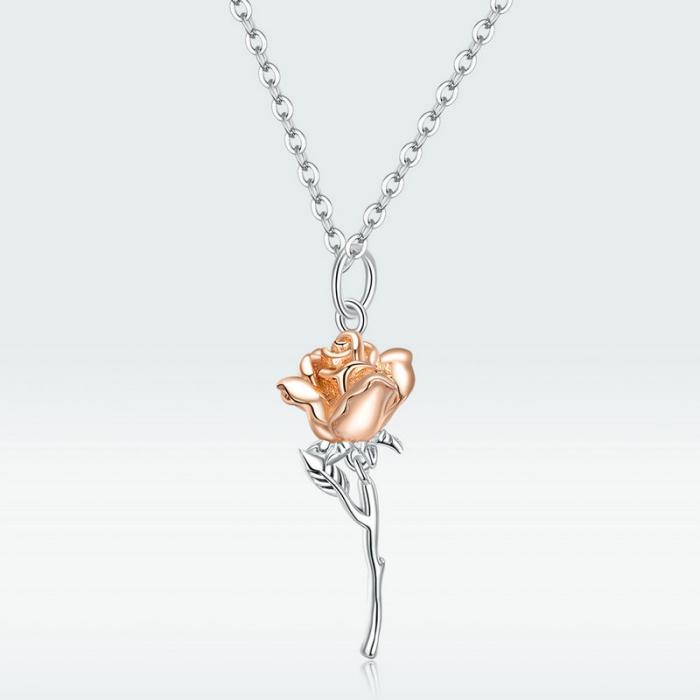 Colier argint cu trandafir 3D 12