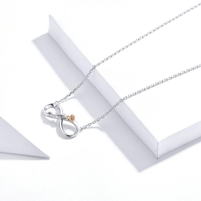 Colier argint Dragoste Infinită, cu Infitit si Trandafir auriu 5
