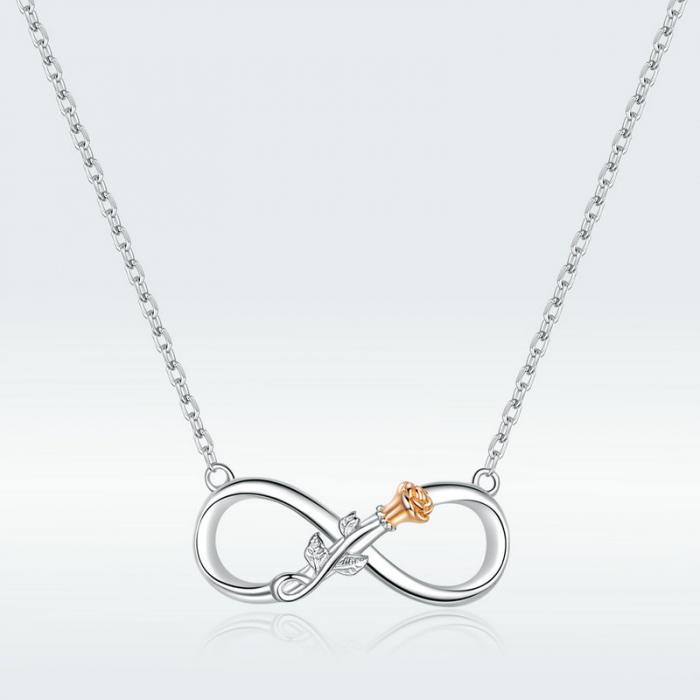 Colier argint Dragoste Infinită, cu Infitit si Trandafir auriu 3