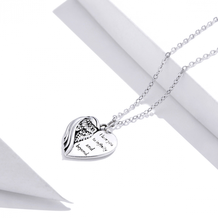 Colier argint Dragoste Infinita cu inimioara si aripa de inger 2