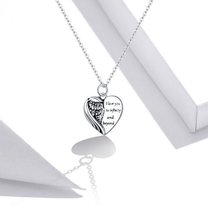 Colier argint Dragoste Infinita cu inimioara si aripa de inger 6