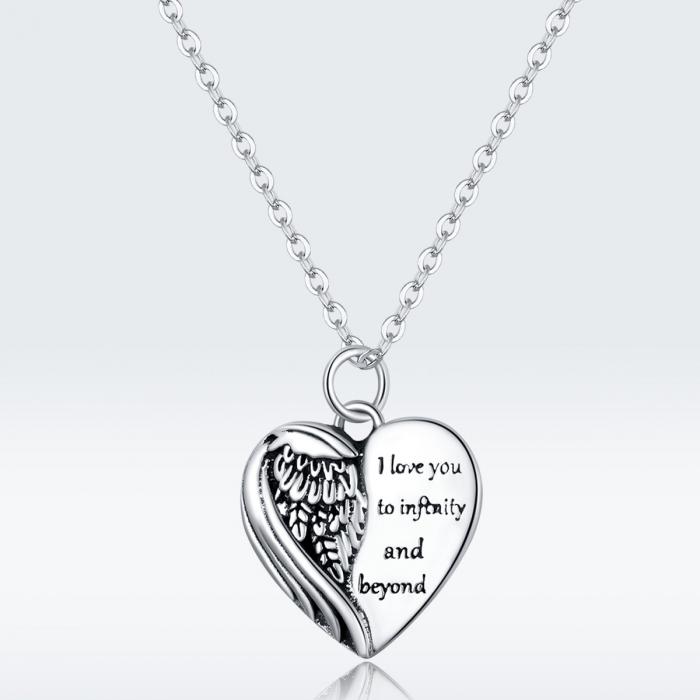 Colier argint Dragoste Infinita cu inimioara si aripa de inger 8