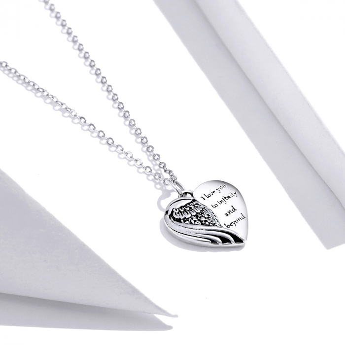 Colier argint Dragoste Infinita cu inimioara si aripa de inger 3