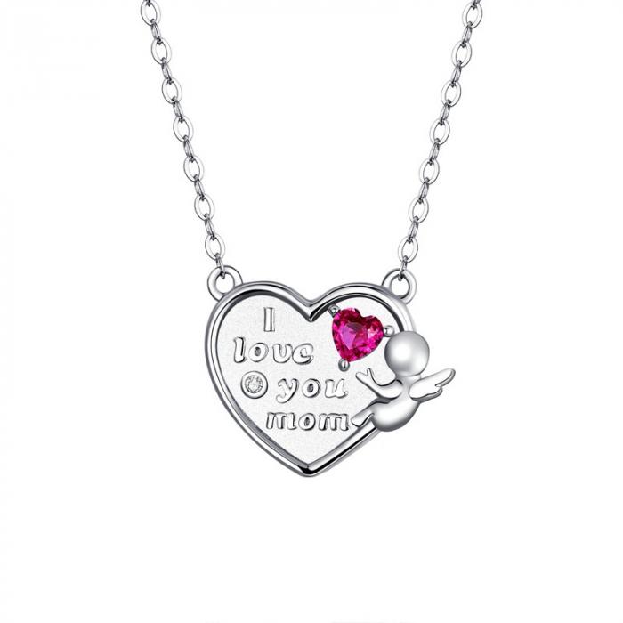 Colier argint Dragoste pentru Mama cu Ingeras si zirconii 0