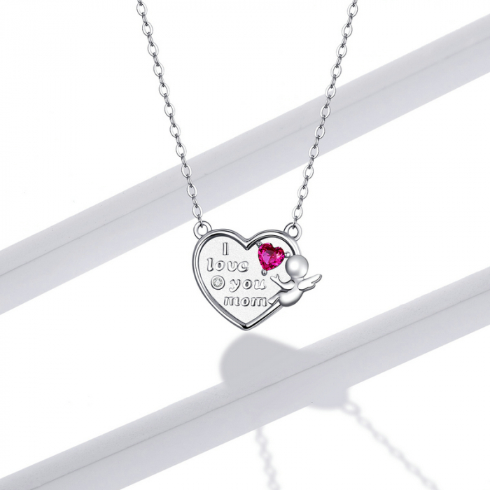 Colier argint Dragoste pentru Mama cu Ingeras si zirconii 5