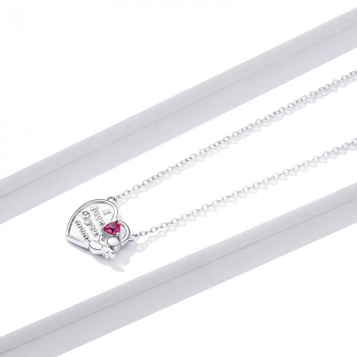 Colier argint Dragoste pentru Mama cu Ingeras si zirconii 1