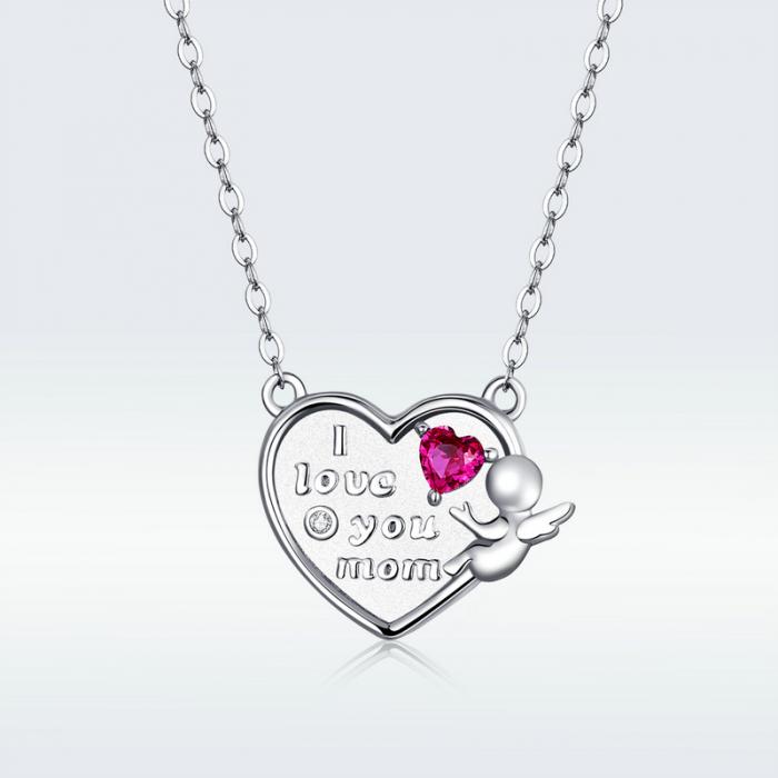 Colier argint Dragoste pentru Mama cu Ingeras si zirconii 6