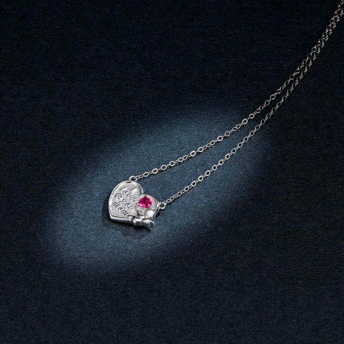 Colier argint Dragoste pentru Mama cu Ingeras si zirconii 4