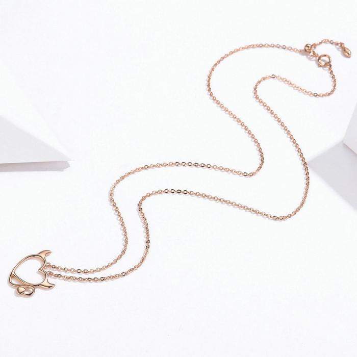 Colier argint Dragoste Periculoasa placat cu aur roz 4