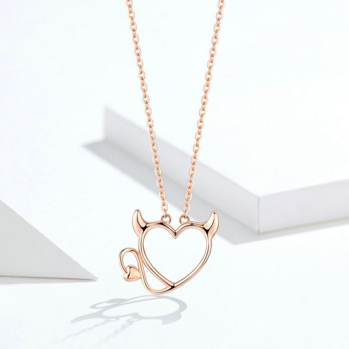 Colier argint Dragoste Periculoasa placat cu aur roz 6