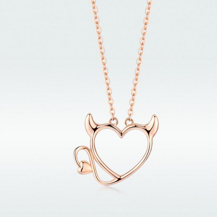 Colier argint Dragoste Periculoasa placat cu aur roz 8