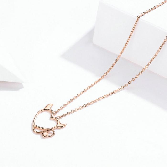 Colier argint Dragoste Periculoasa placat cu aur roz 1