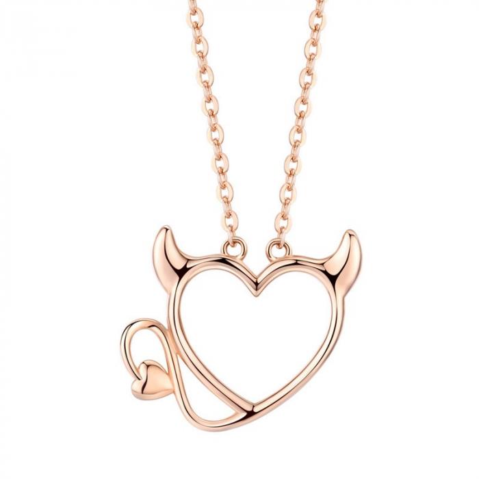 Colier argint Dragoste Periculoasa placat cu aur roz 0