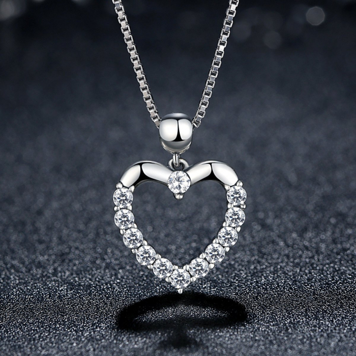 Colier argint inimioara cu zirconii [2]
