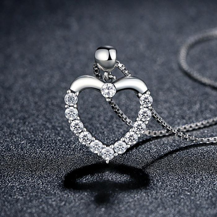 Colier argint inimioara cu zirconii [3]
