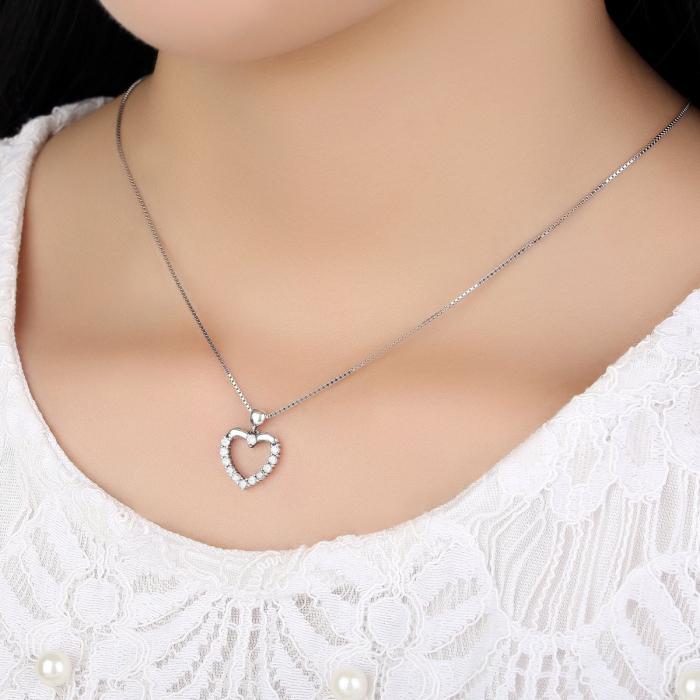 Colier argint inimioara cu zirconii [1]