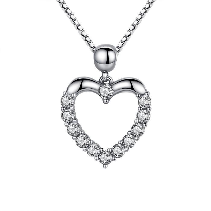 Colier argint inimioara cu zirconii [0]