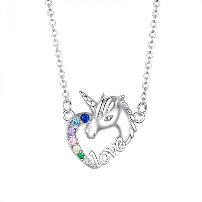 Colier argint placat cu platina cu pandantiv Unicorn si cristale colorate 0