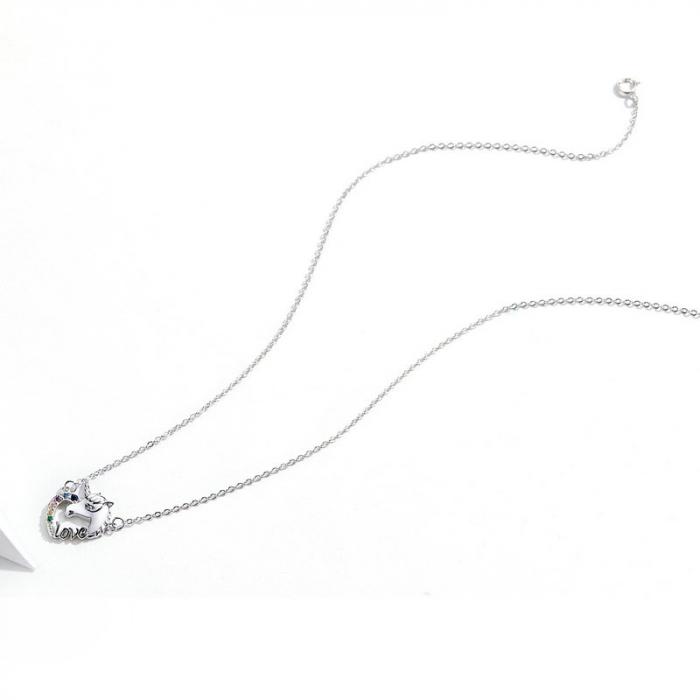 Colier argint placat cu platina cu pandantiv Unicorn si cristale colorate 6