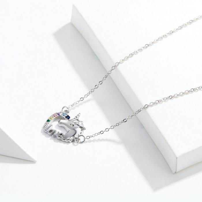 Colier argint placat cu platina cu pandantiv Unicorn si cristale colorate 1
