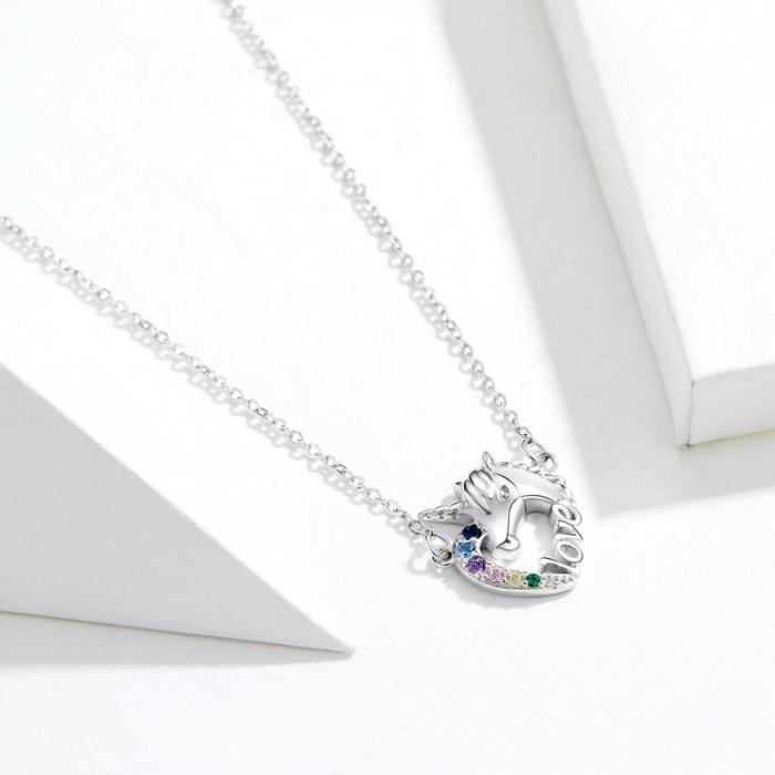 Colier argint placat cu platina cu pandantiv Unicorn si cristale colorate 4