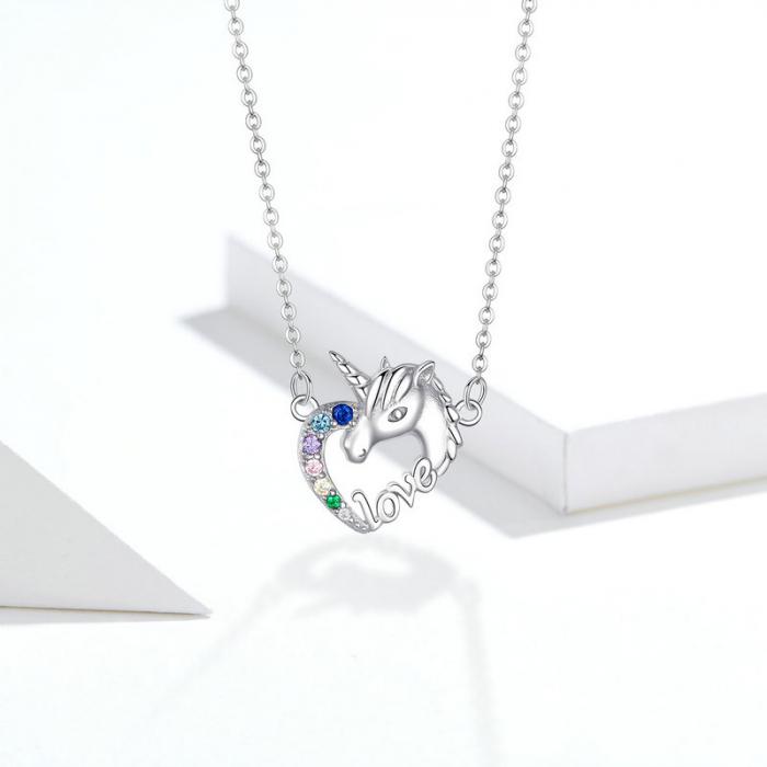 Colier argint placat cu platina cu pandantiv Unicorn si cristale colorate 7