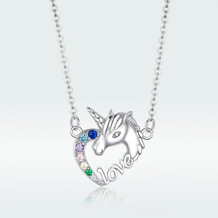 Colier argint placat cu platina cu pandantiv Unicorn si cristale colorate 5